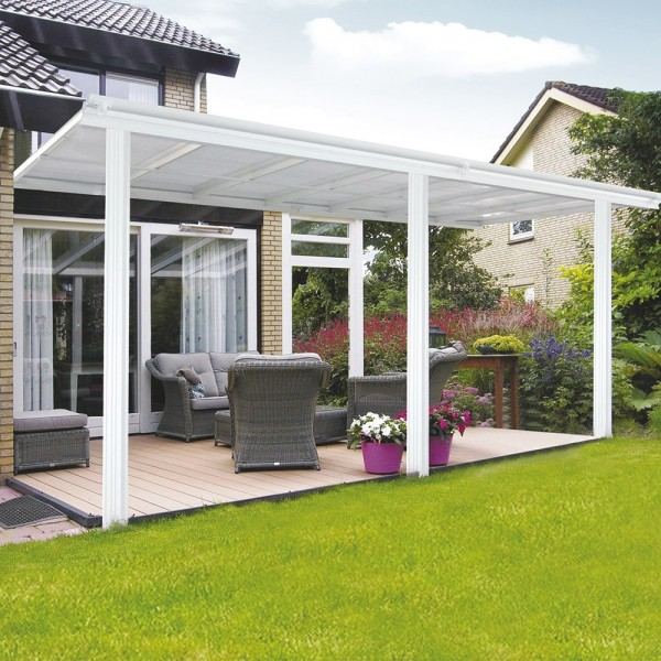 Home Deluxe Terrassenueberdachung 557 x 303 x 226 / 278 cm Weiss