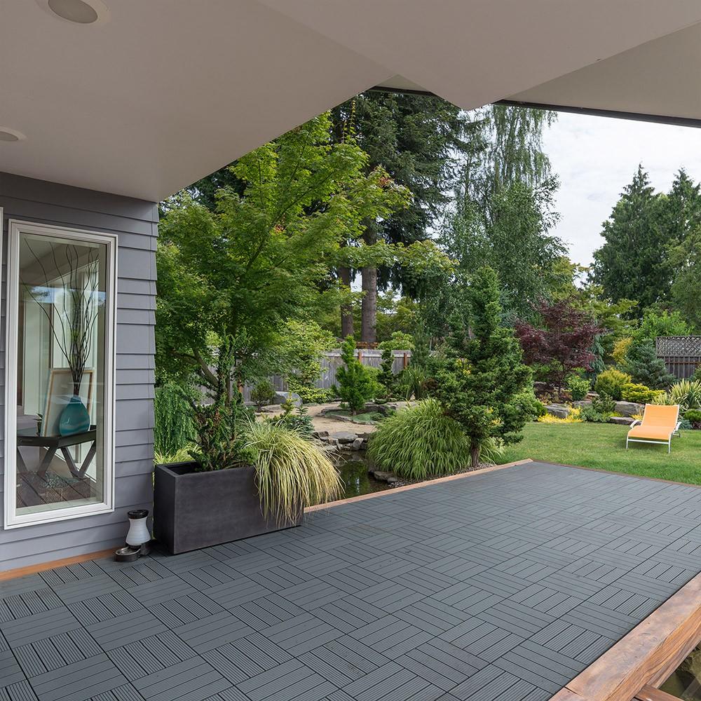 Home Deluxe Wpc Holzfliesen Anthrazit Wpc Holzfliesen Garten