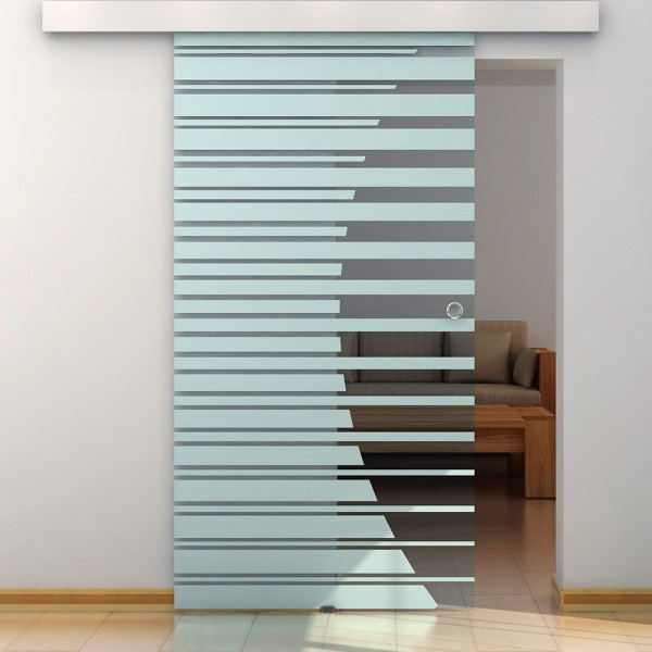 Home Deluxe Glasschiebetür 90 cm mit Streifendesign und Muschelgriff