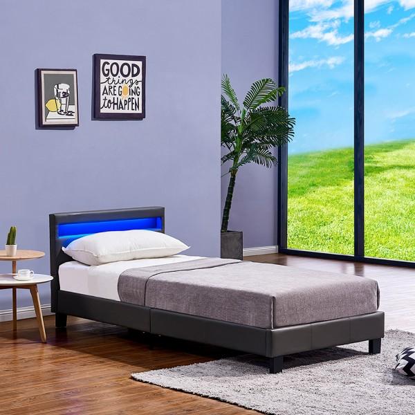 Home Deluxe Led Bett Astro 90 X 200 Dunkelgrau Schlafzimmer Haus