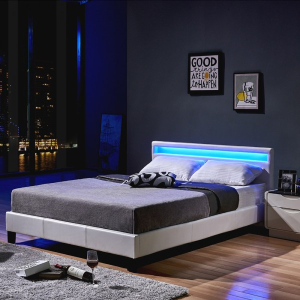 Home Deluxe LED Bett Astro 160 x 200 Weiß