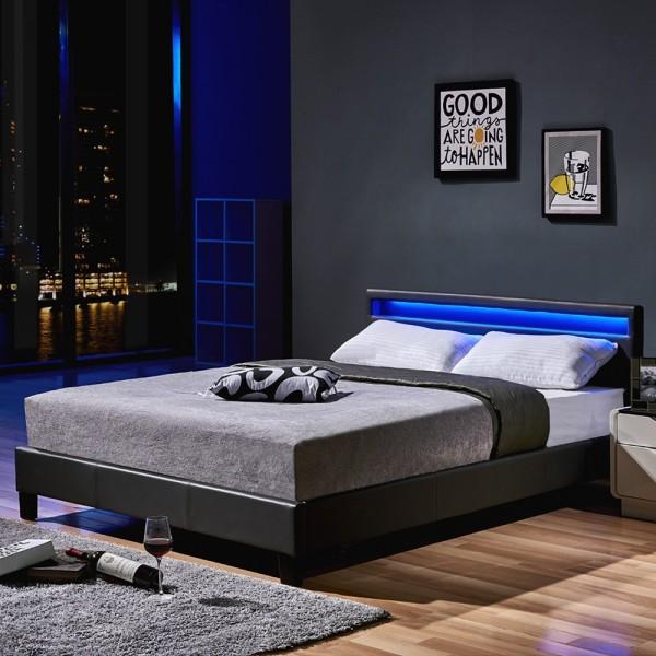 Home Deluxe LED Bett Astro 140 x 200 Dunkelgrau