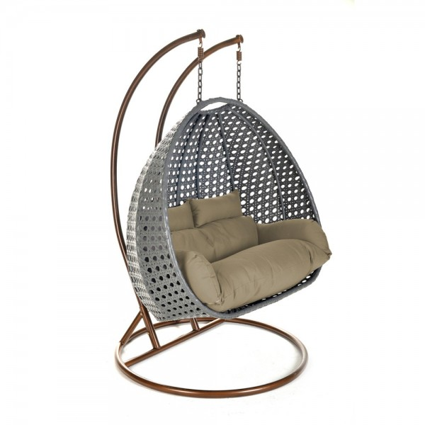 Home Deluxe Polyrattan Hängesessel Twin Grau