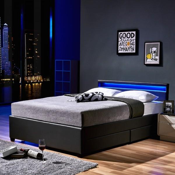 Home Deluxe LED Bett Nube mit Schubladen 180x200 Dunkelgrau
