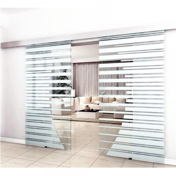 Home Deluxe Doppelglasschiebetuer 2x77,5 cm mit Streifendesign und Muschelgriff