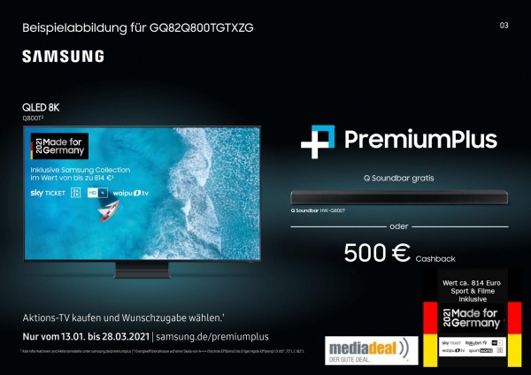 Samsung GQ82Q800TGTXZG - Cashback Aktion - Made for Germany