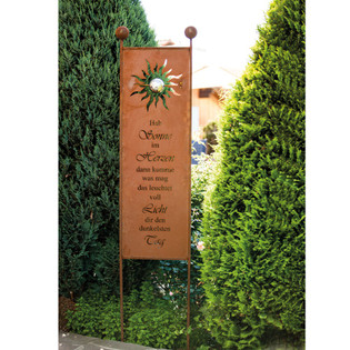 Home Deluxe Rost Gartenstecker Gartenschild Sunlight