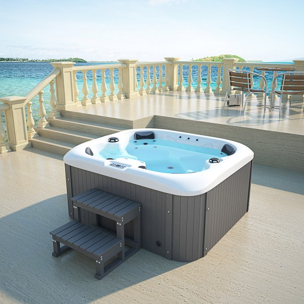Home Deluxe Outdoor Whirlpool Sea Star plus Treppe und Thermoabdeckung