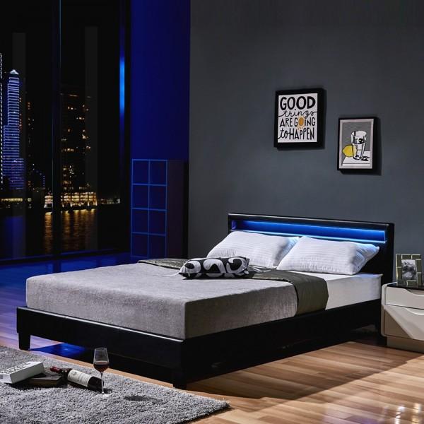 Home Deluxe LED Bett Astro 140 x 200 Schwarz